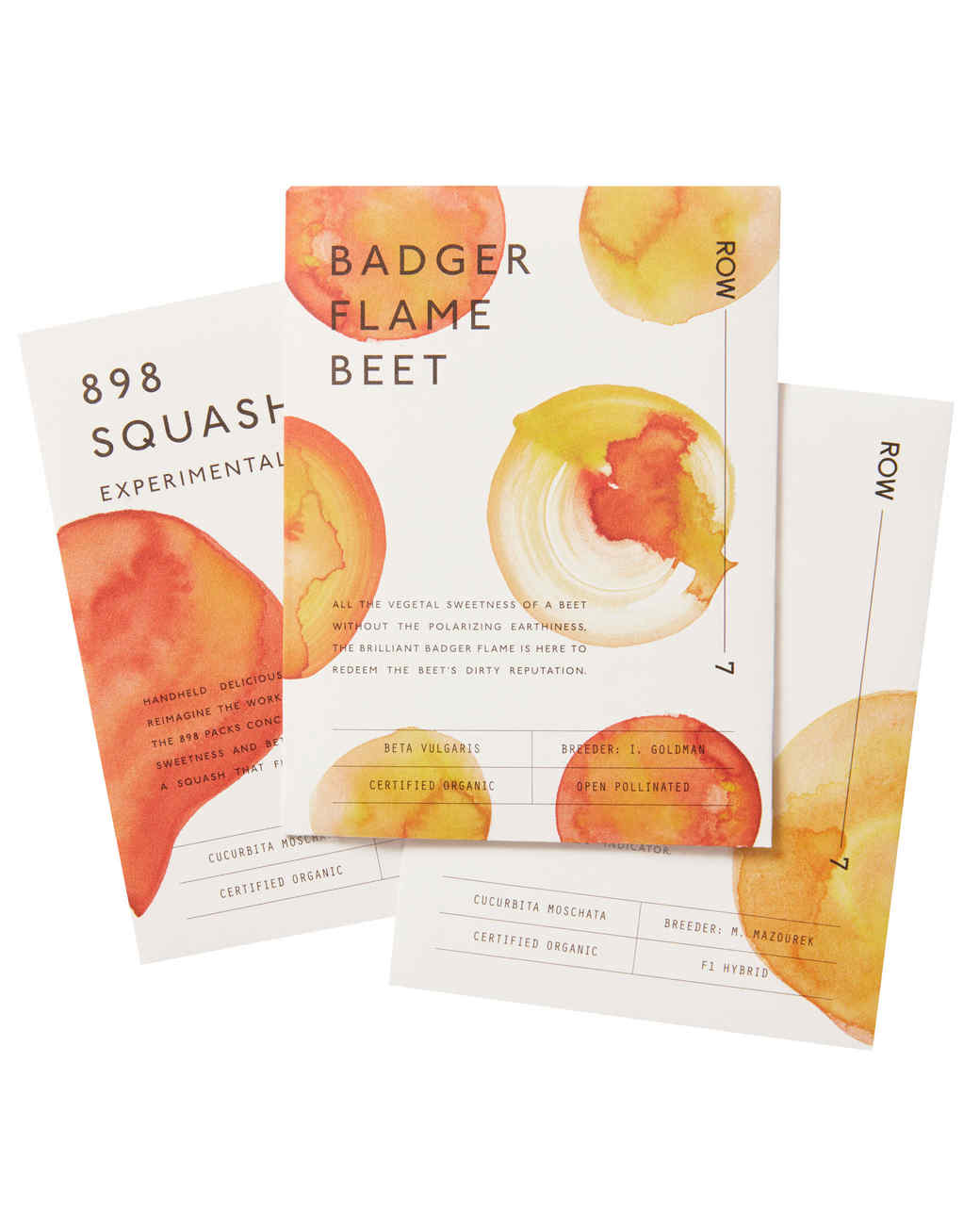 water color illustrated vegetable seed packets