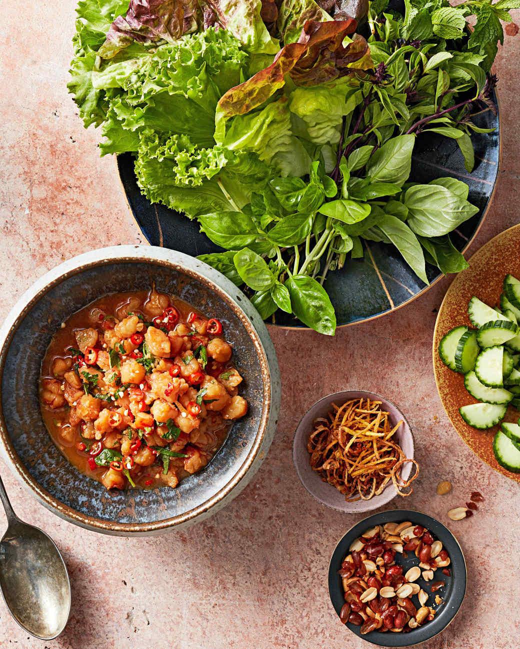laotian shrimp larb lettuce