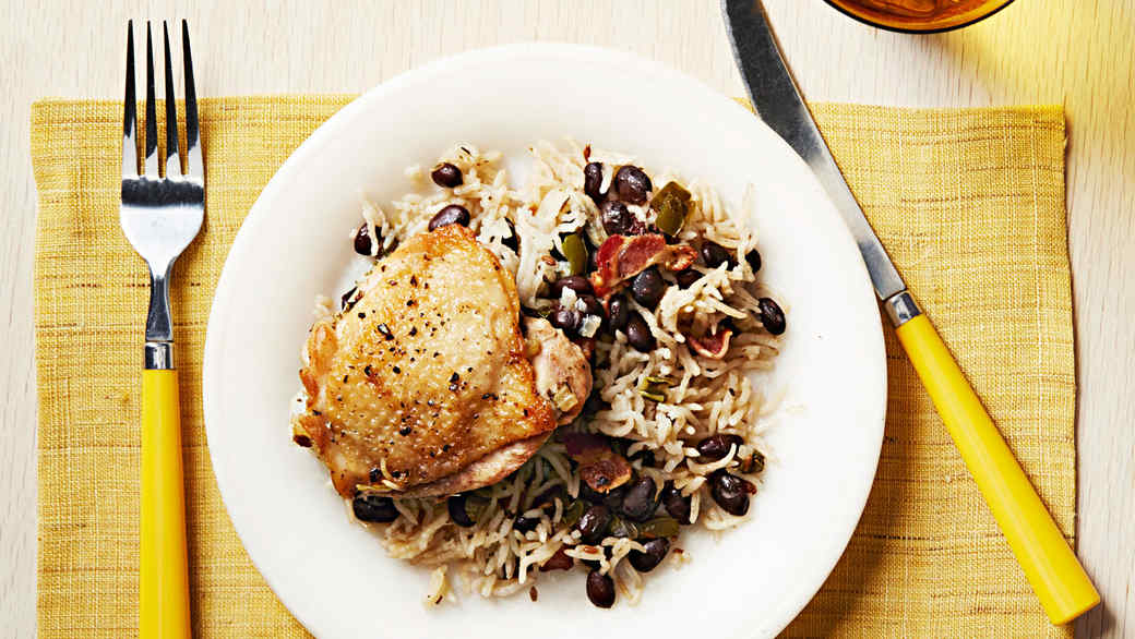 One-Pan Cuban Chicken with Rice and Beans