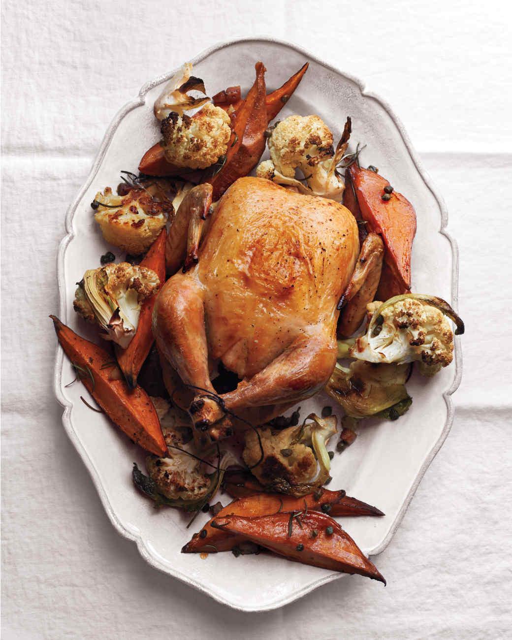 Roast Chicken with Cauliflower and Sweet Potatoes