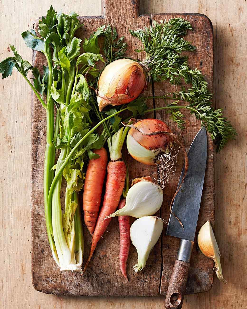 veggies cutting board knife