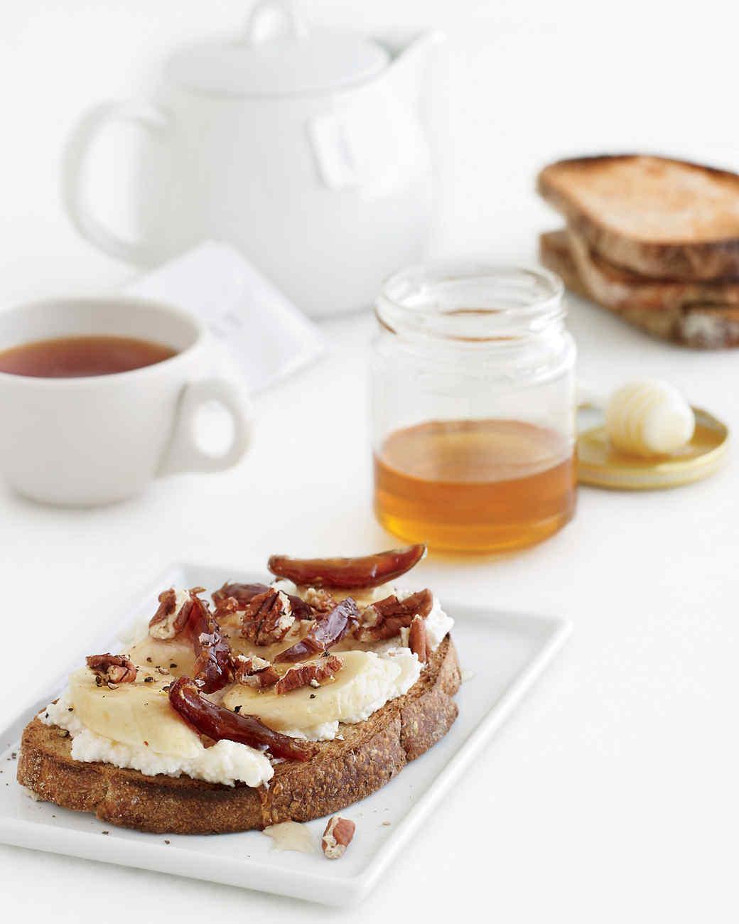 Banana-Ricotta Toasts with Pecans, Dates, and Honey