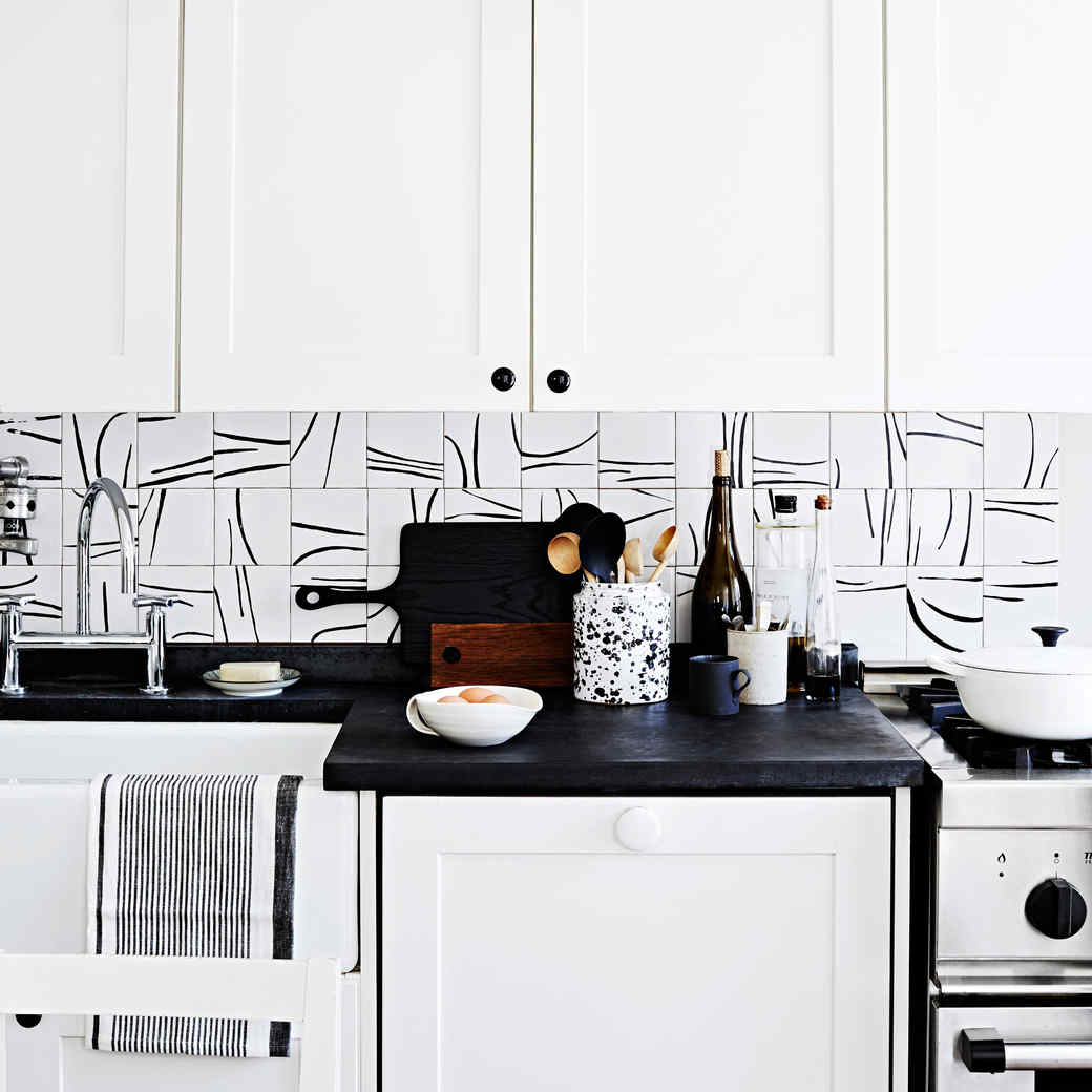 Hand-Painted Tile Backsplash