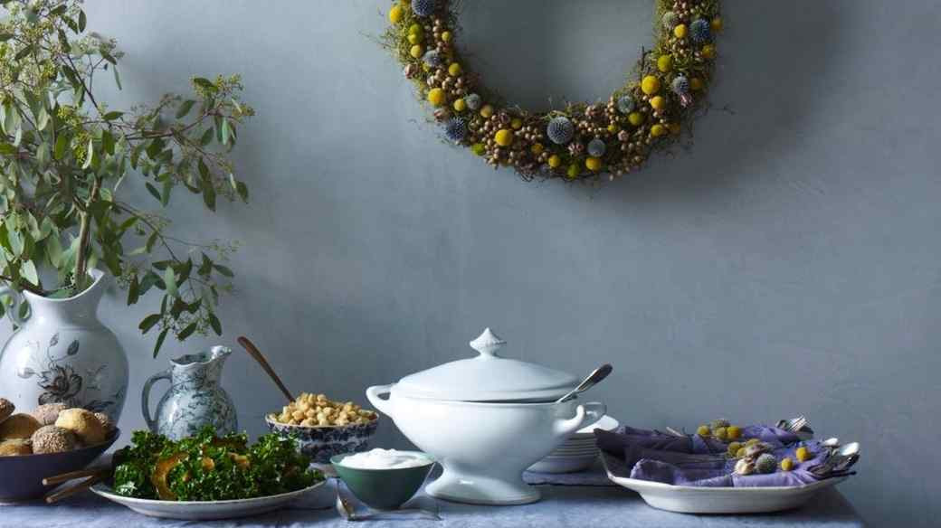 Buffet Table with Dried Wreath