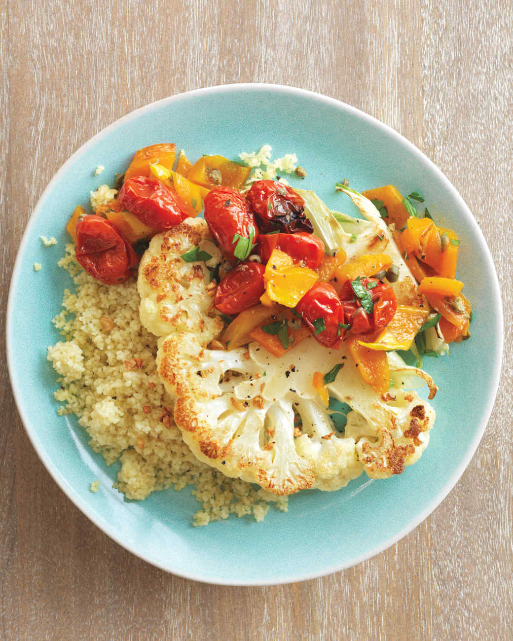 Cauliflower Steaks with Roasted Pepper and Tomato Salad ...
