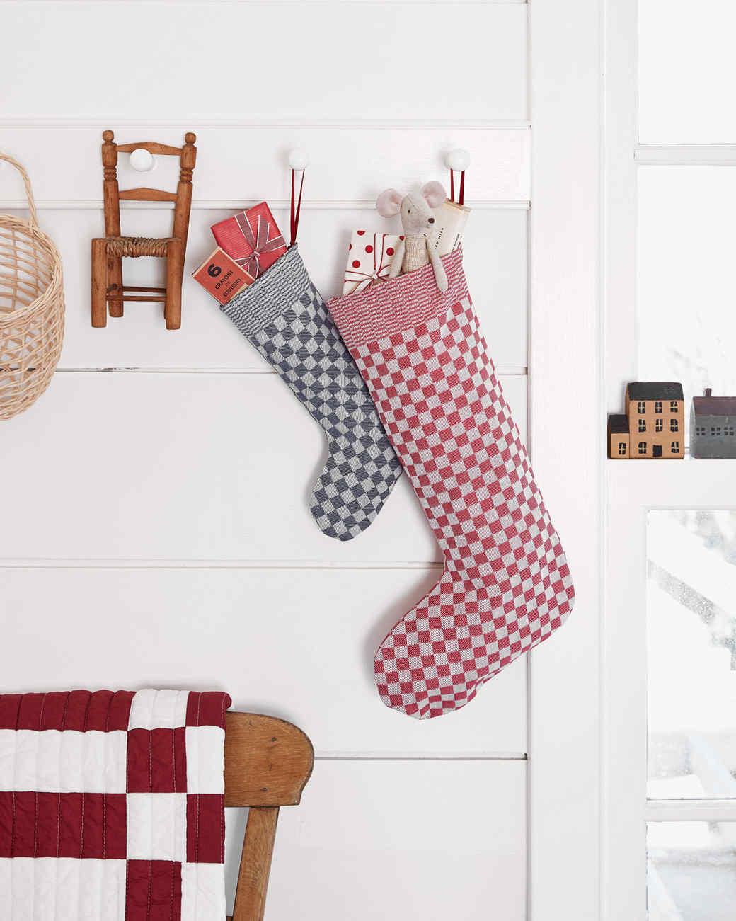 checkered print Christmas stockings