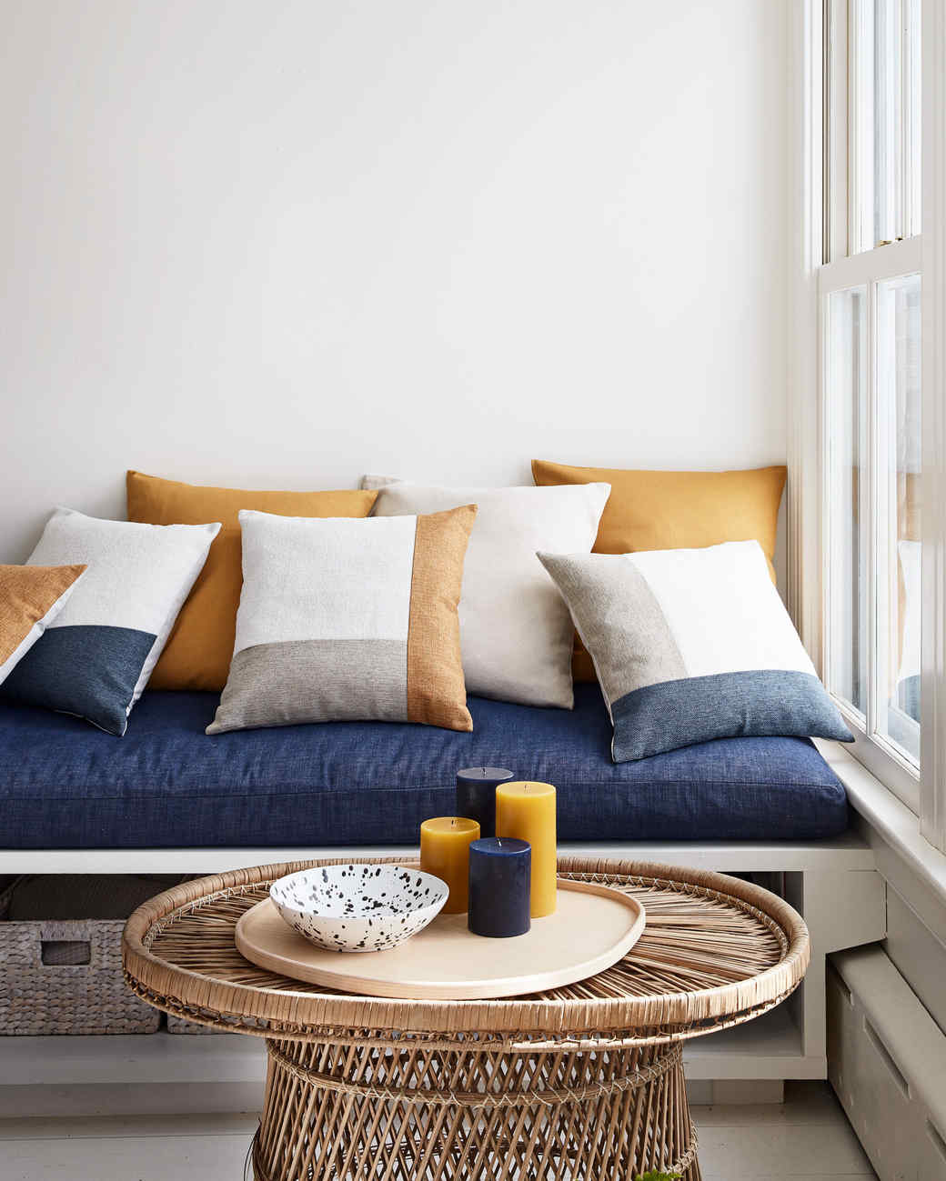 blue orange and white color block throw pillows