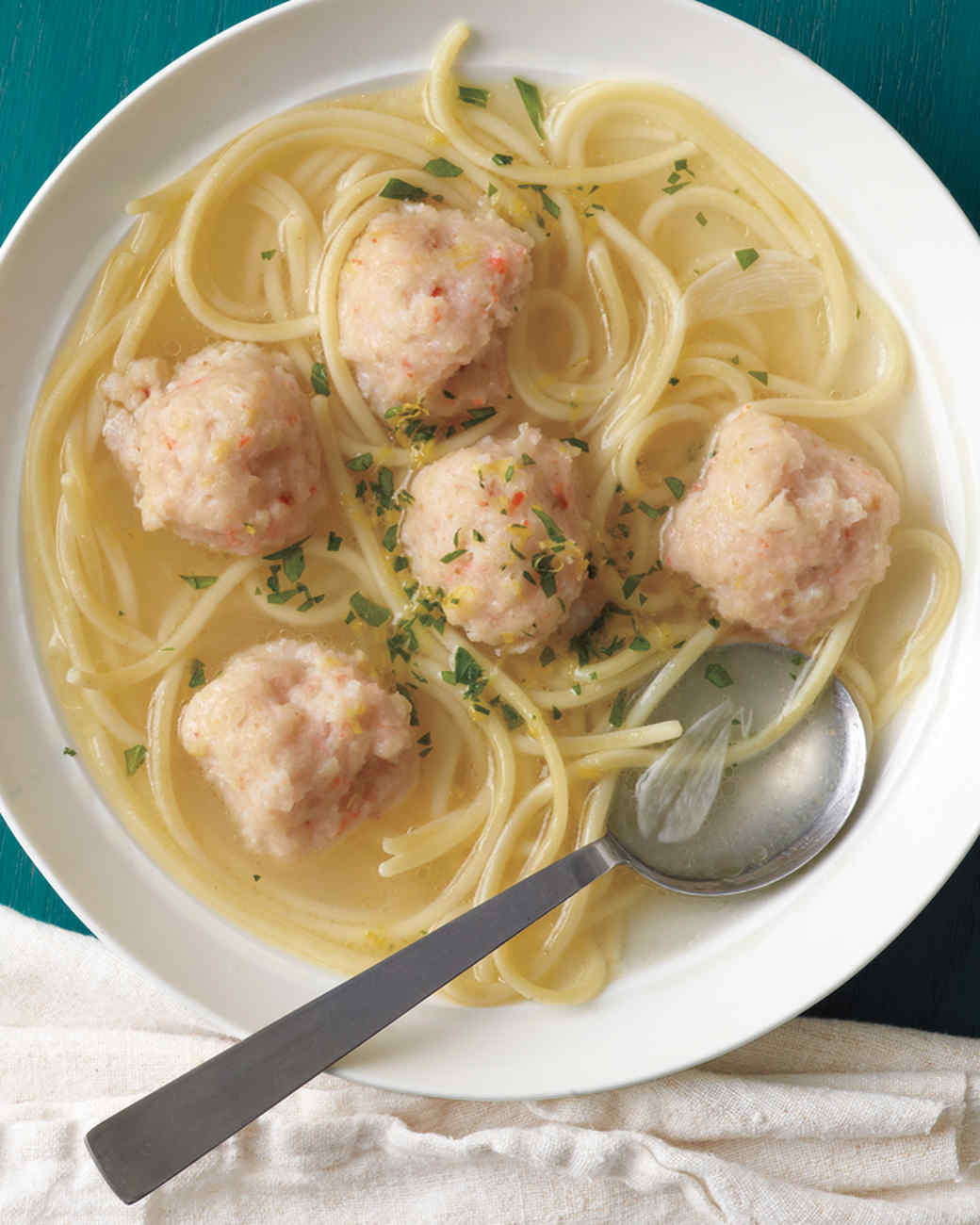 Shrimp Scampi Meatballs in Garlicky Broth