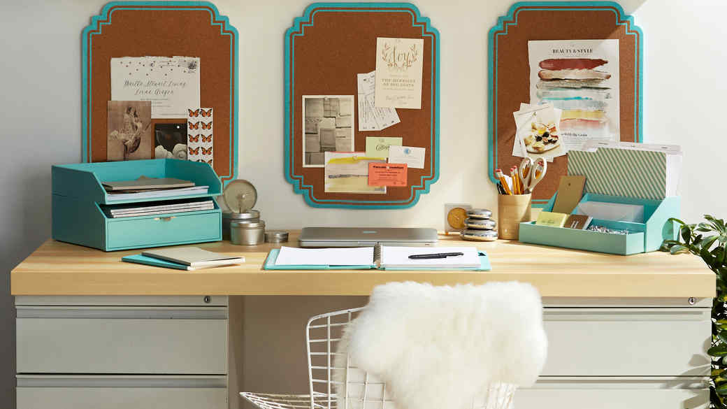 teal desk storage