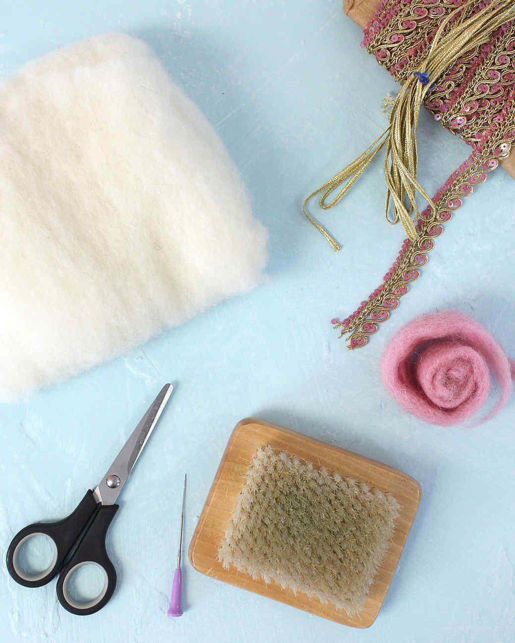 needle felted llama ornament project materials