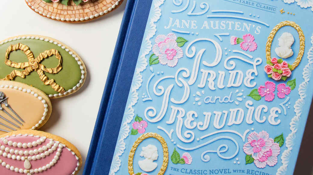 pride and prejudice book cover and decorative cookies
