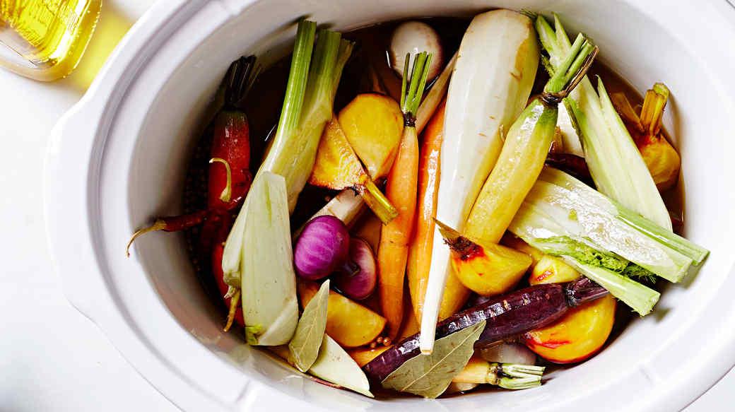slow cooker root vegetable confit