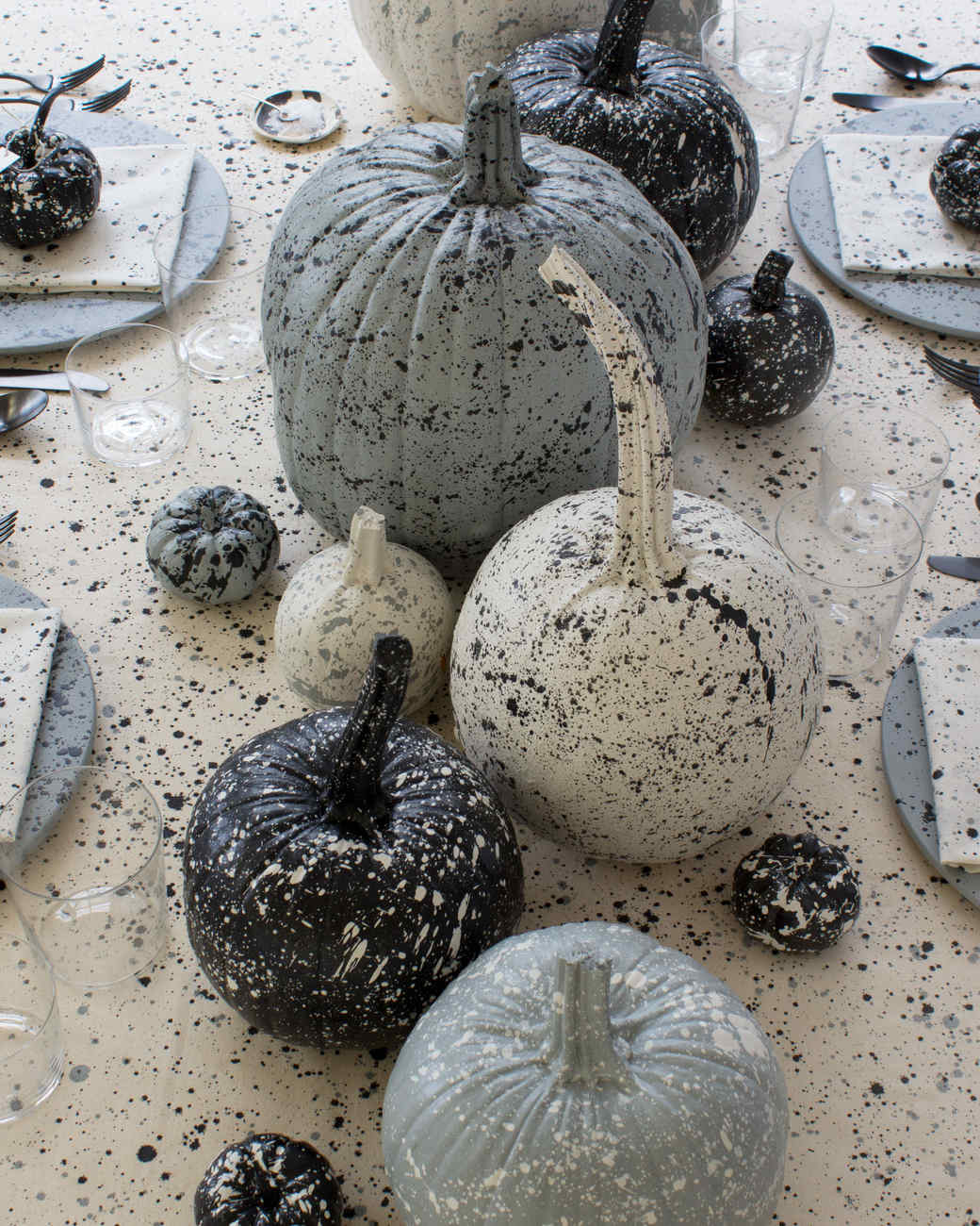 splatter-painted pumpkins