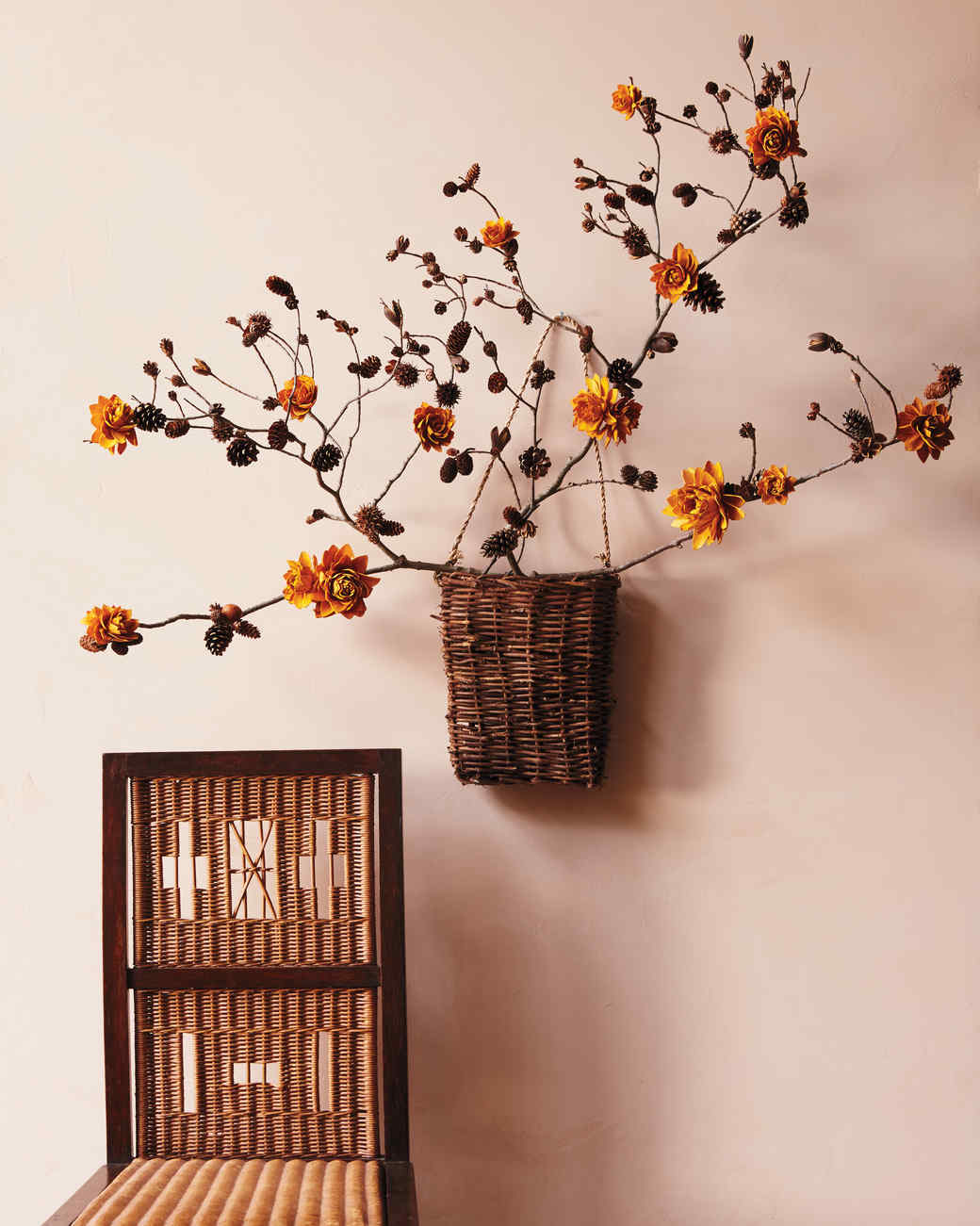 Faux flowers a fall wall decor craft martha stewart faux flowers a fall wall decor craft amipublicfo Choice Image