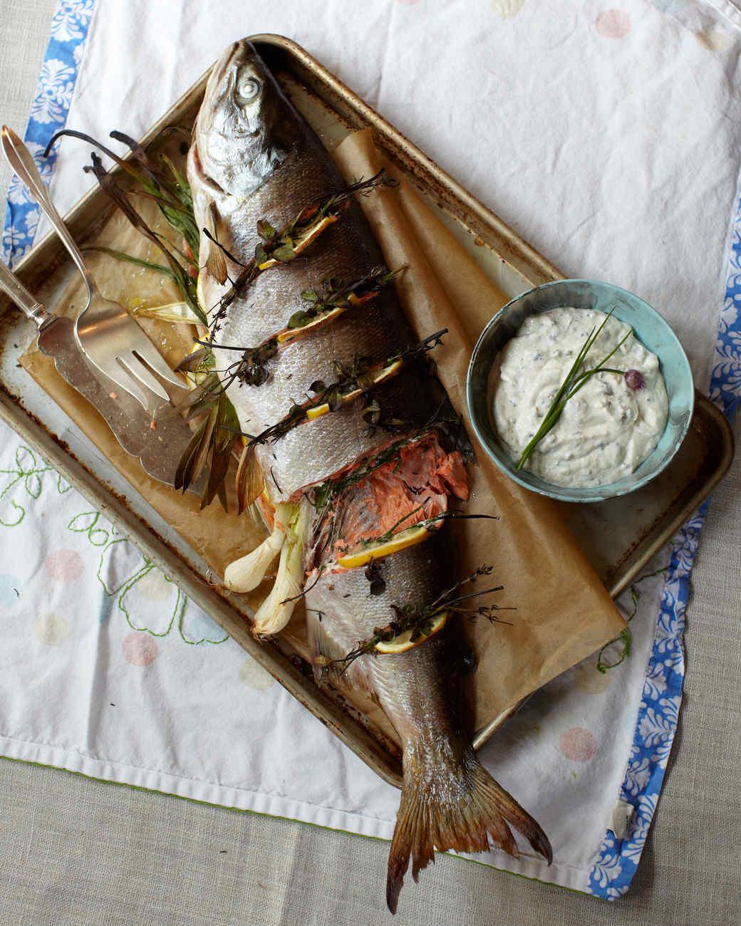 Whole Roasted Salmon with Horseradish-Caper Cream Sauce