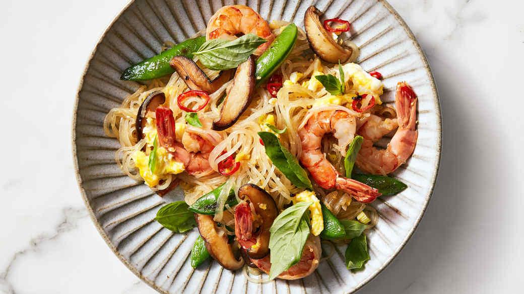 shrimp basil glass noodle stir fry