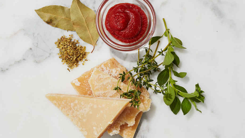 tomato paste parmesan cheese and fresh herbs for soup