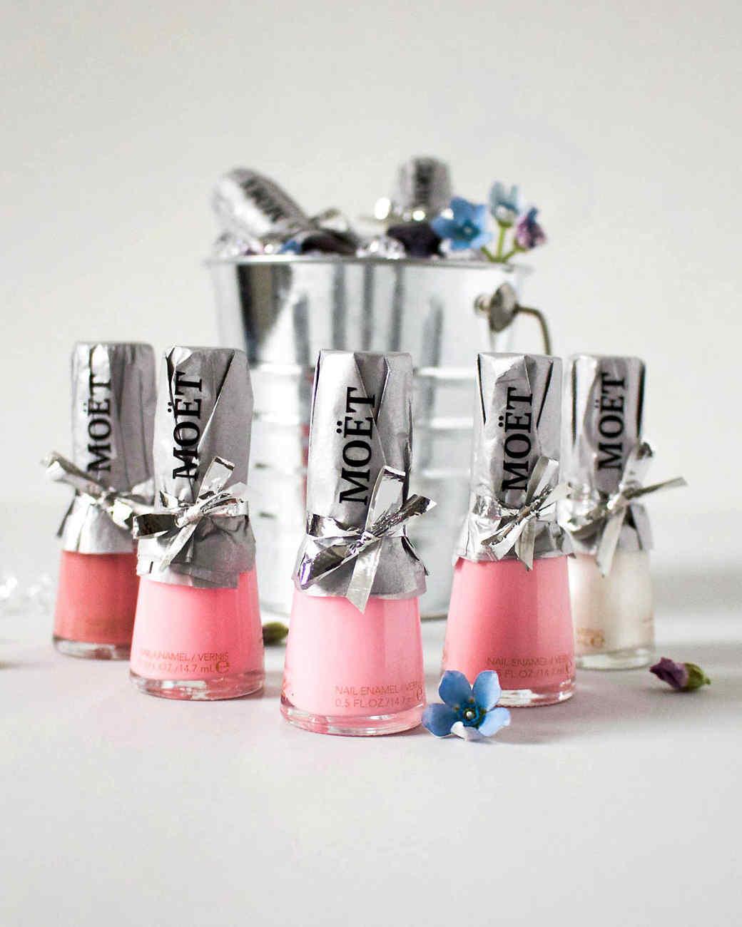 nail polish bottle bubbly party favors pink white