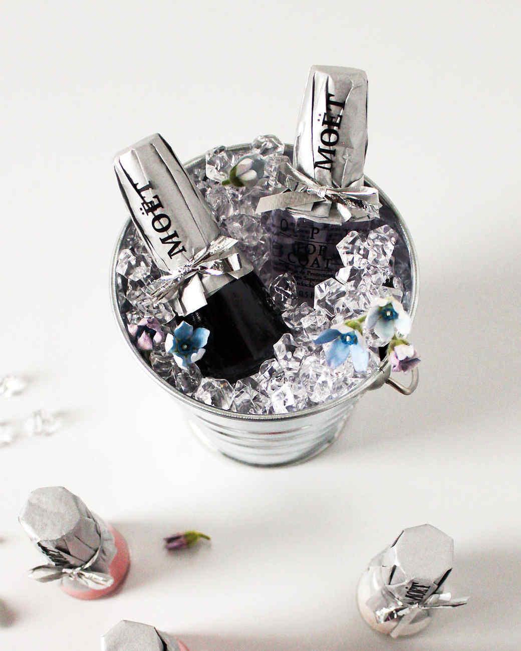nail polish bottle bubbly party favors bucket