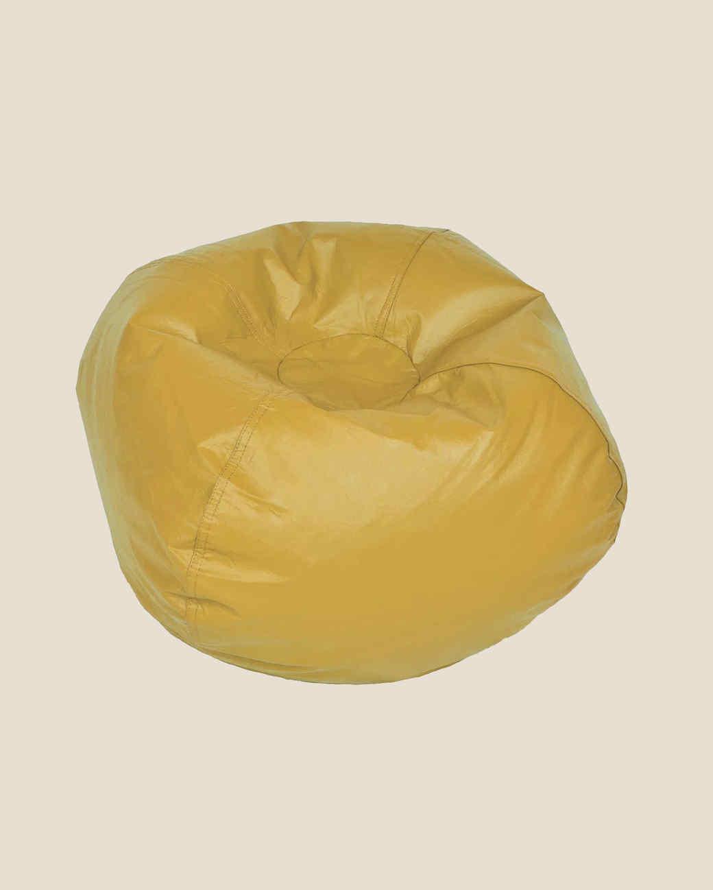 small vinyl yellow bean bag chair
