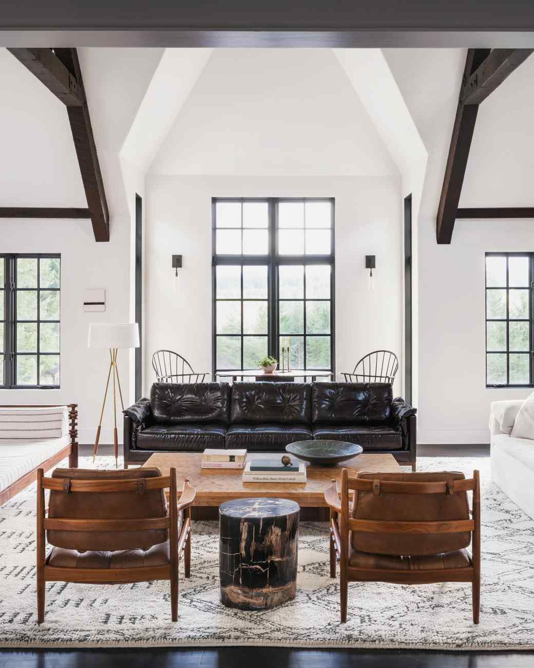 handcrafted oregon living room high ceilings exposed beams