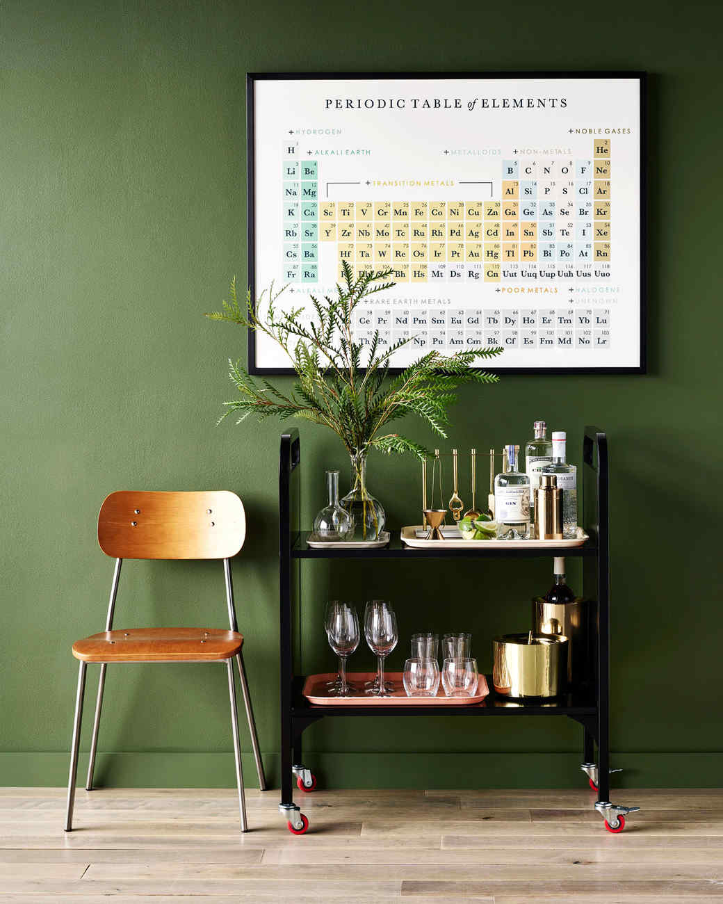 geek library cart periodic table beakers