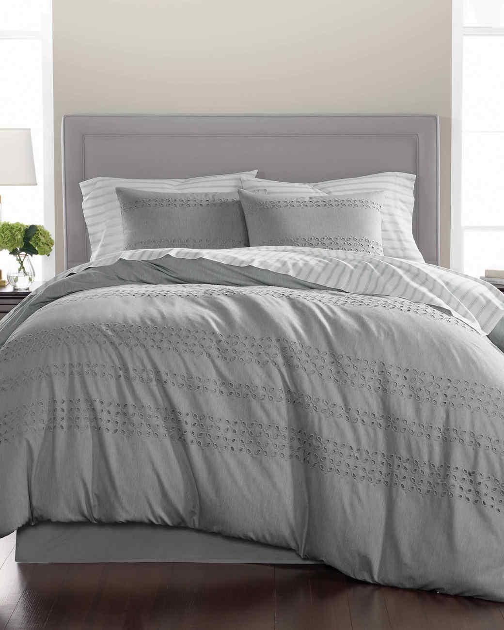 macys eyelet comforter gray