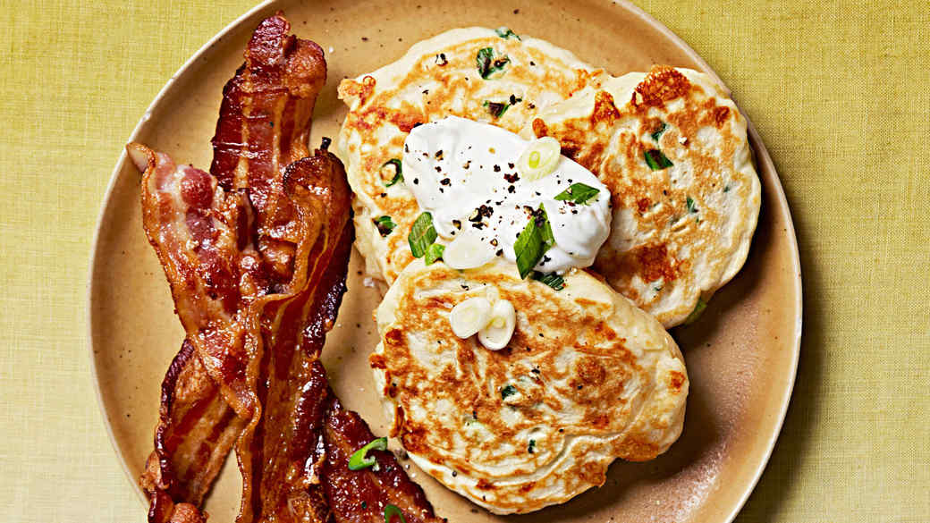 savory cheddar scallion pancakes bacon