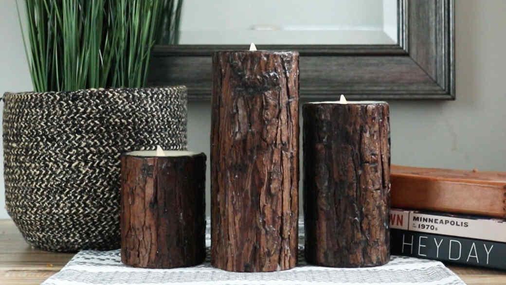 luminara  tree bark flameless candles