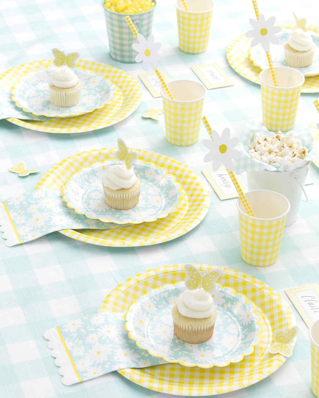 michaels yellow blue spring place setting cupcakes popcorn