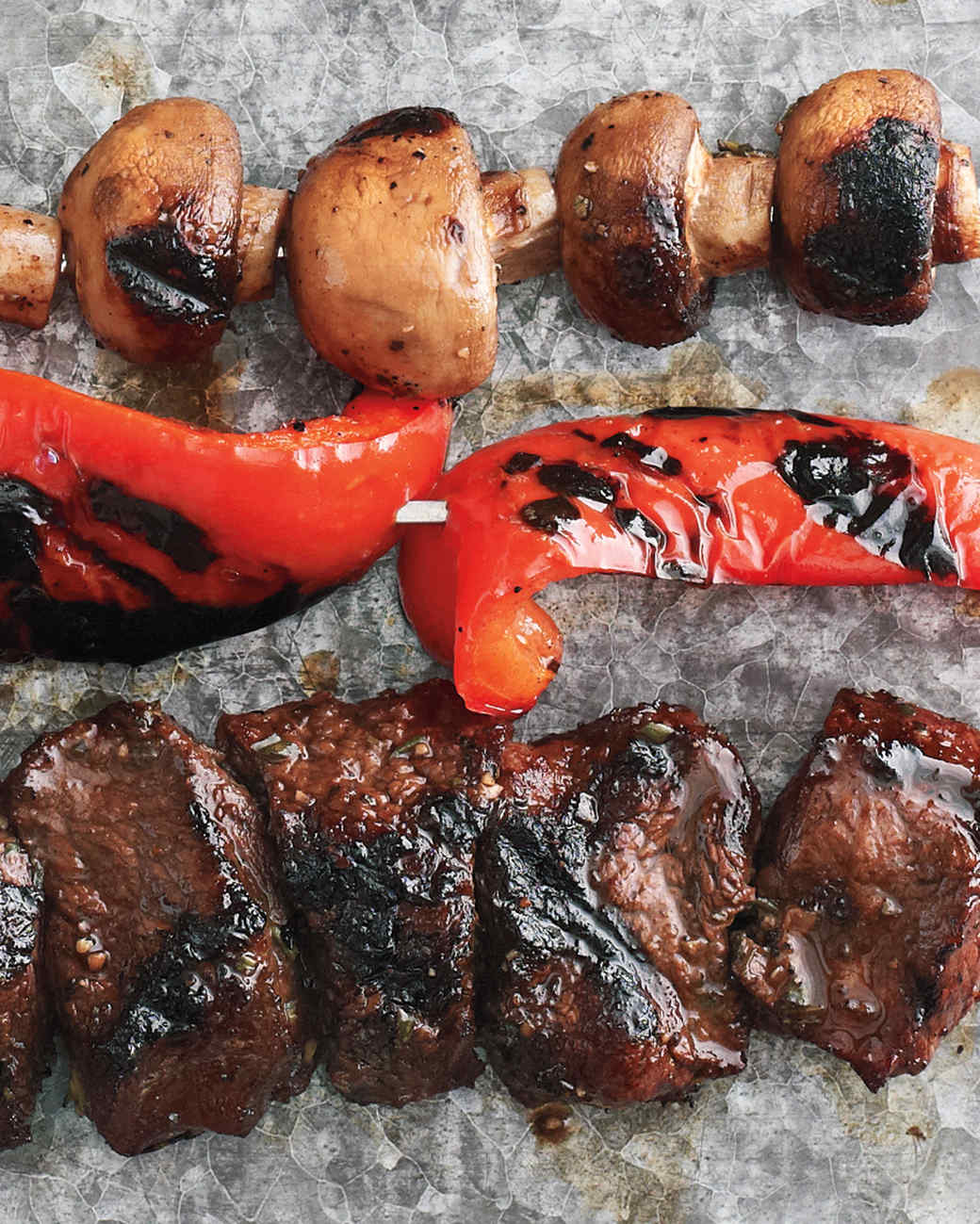 Mushrooms, Red Peppers, and Beef with Balsamic-Rosemary Marinade