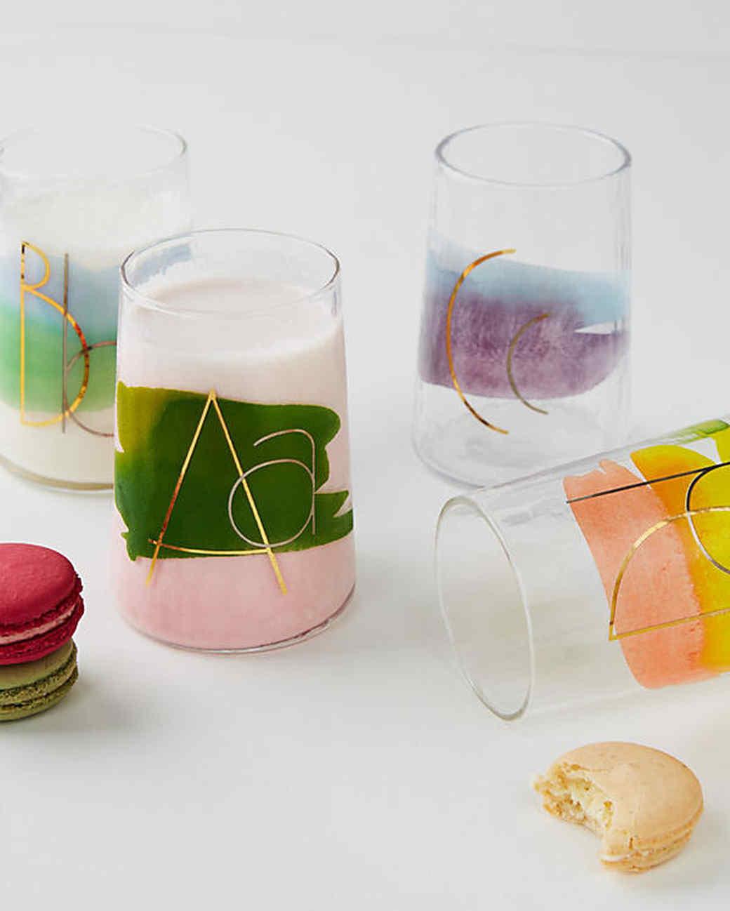 monogram juice glasses