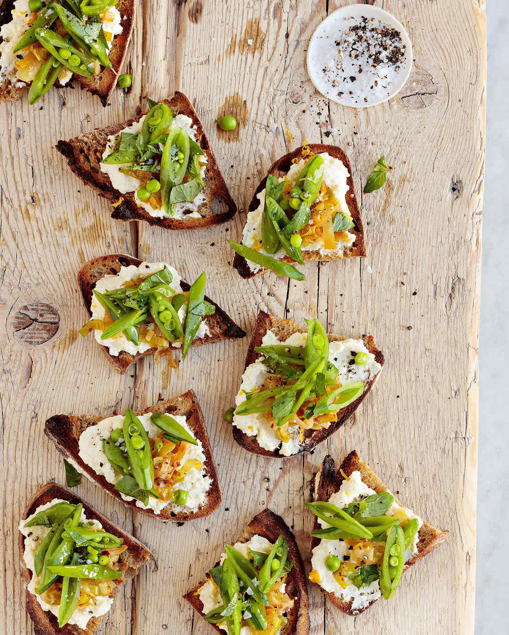 snap pea and melted leek tartines