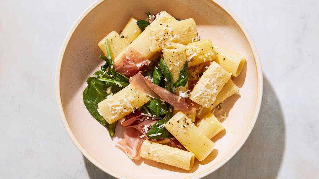 Prosciutto Carbonara with Spinach