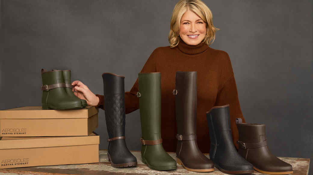 martha with aerosoles rainboots