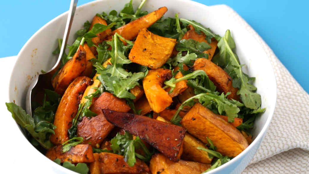 Balsamic Roasted Sweet Potatoes & Squash