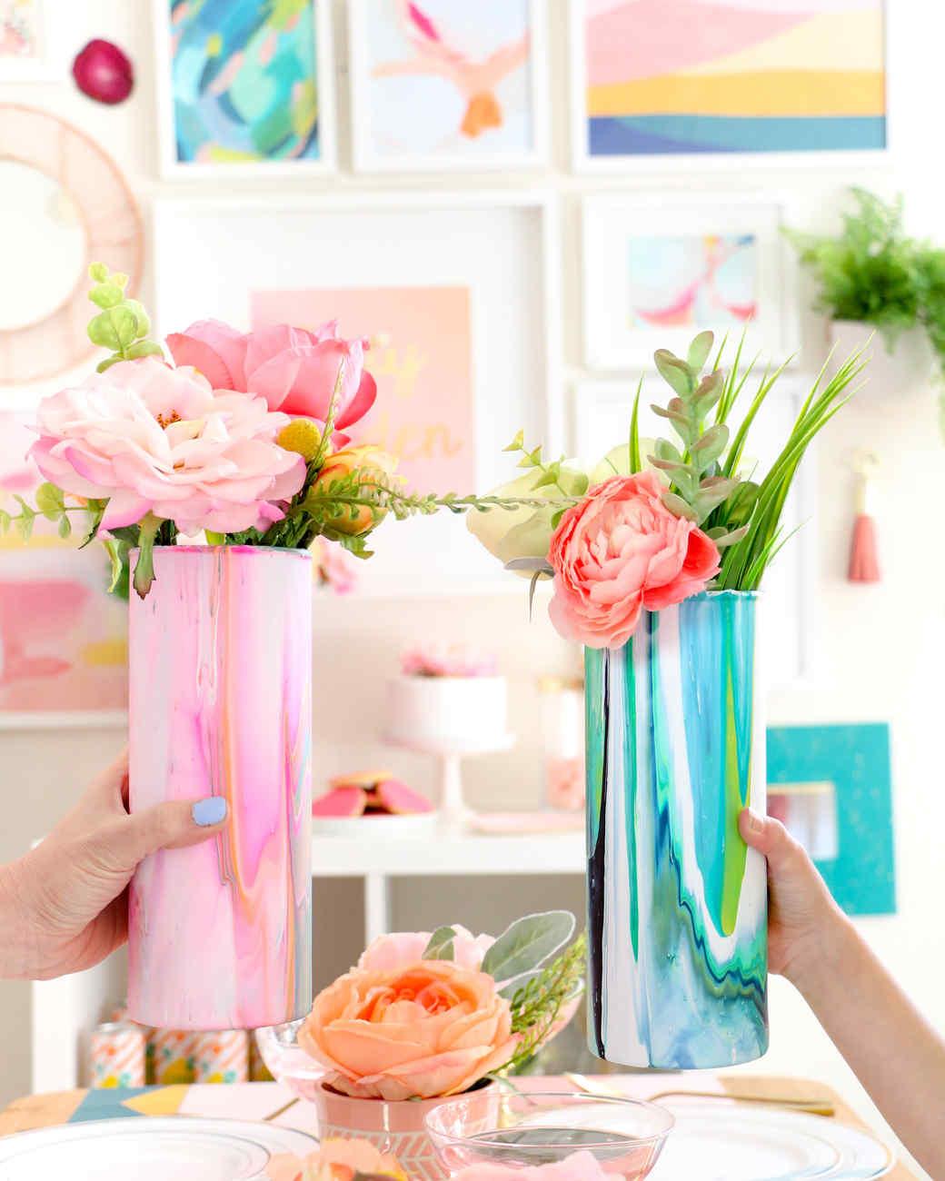 Marbleized glass flower vase martha stewart marbleized floral vase reviewsmspy