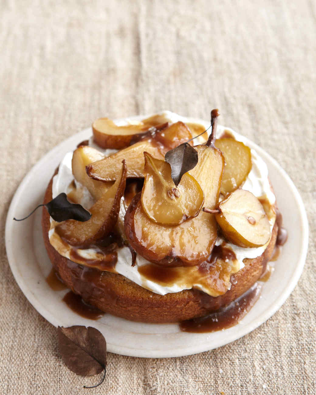 olive oil cake caramelized pears