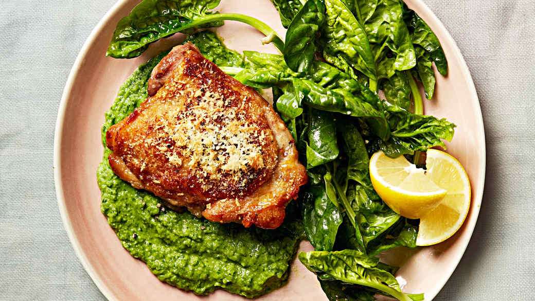 chicken with herbed pea puree and spinach