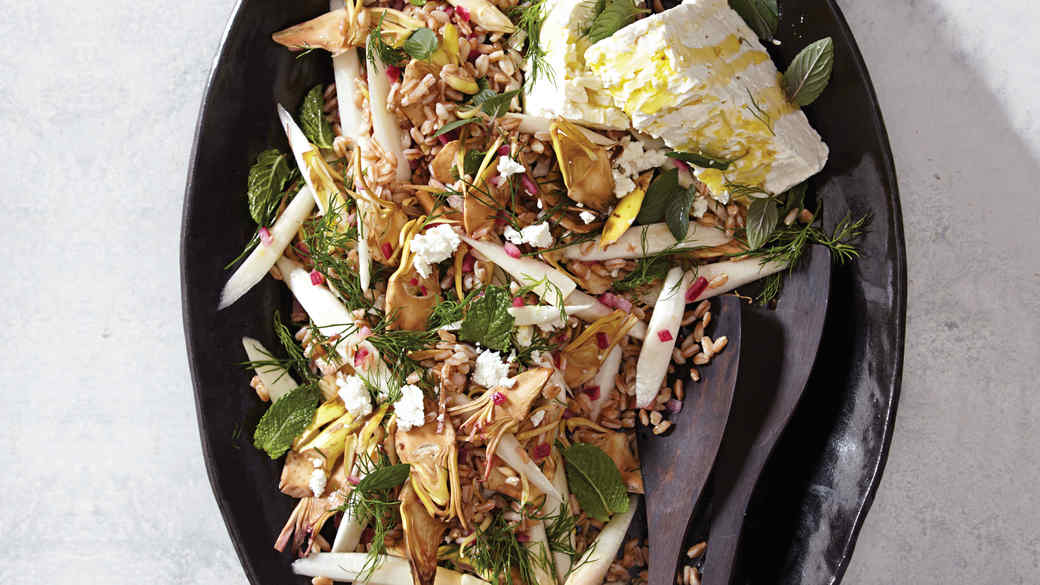 Raw Artichoke and White-Asparagus Farro Salad