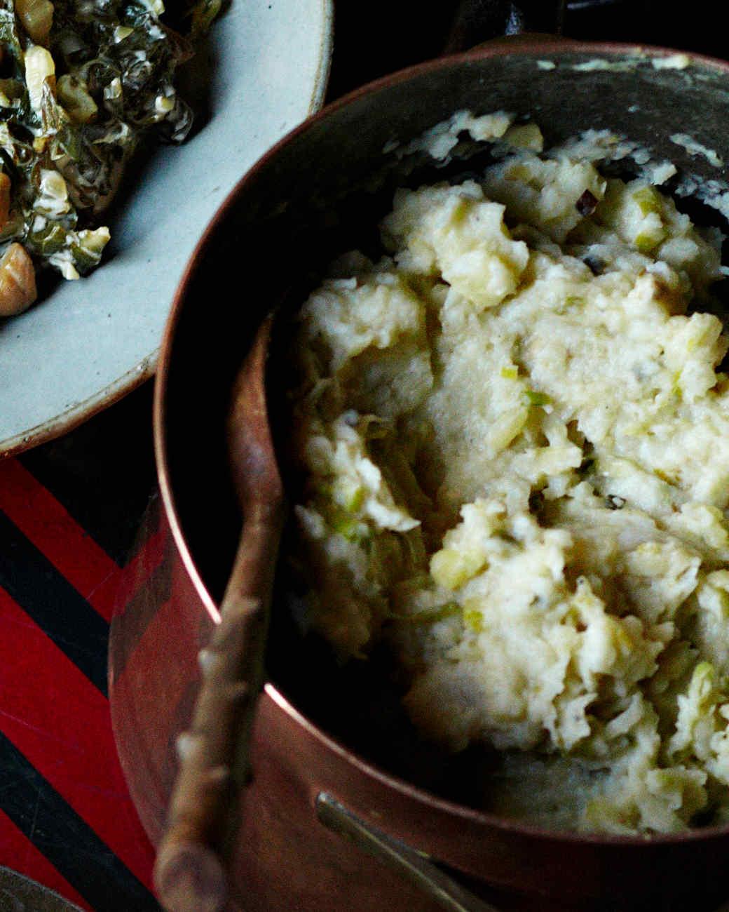 Smashed Root Vegetables and Caramelized Leeks