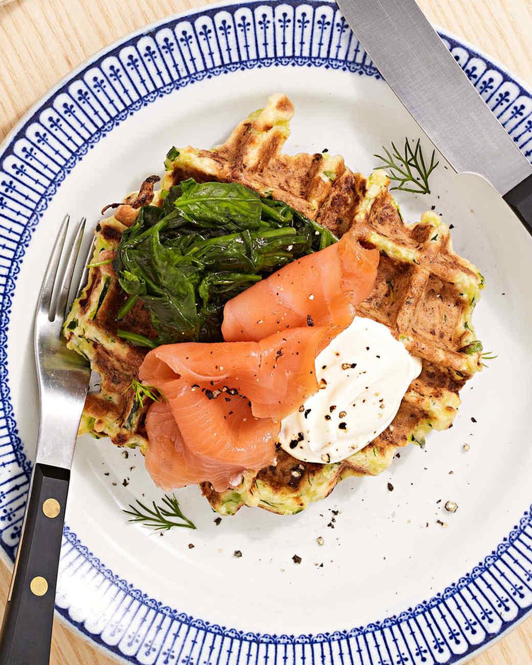 zucchini waffle smoked salmon and greens