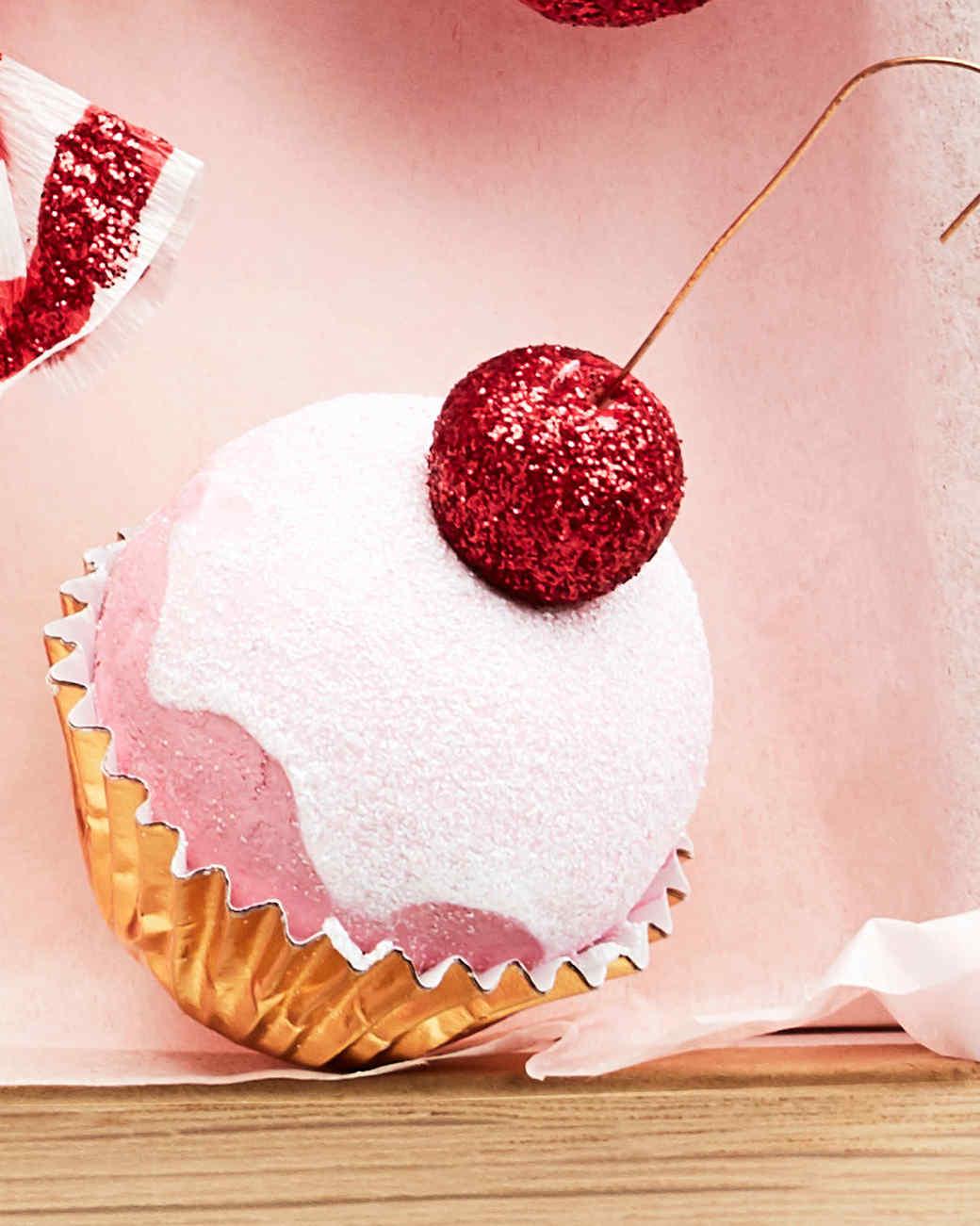 glitter spun cotton cupcake ornament