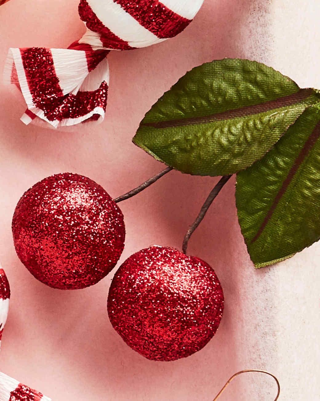 glitter spun cotton cherry ornaments
