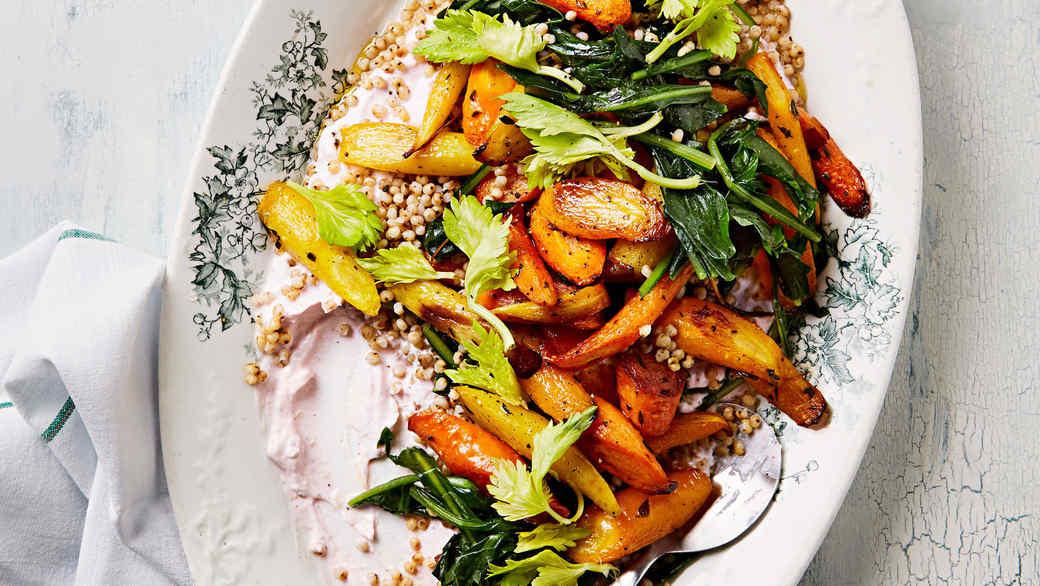 sorghum salad with carrots dandelion greens