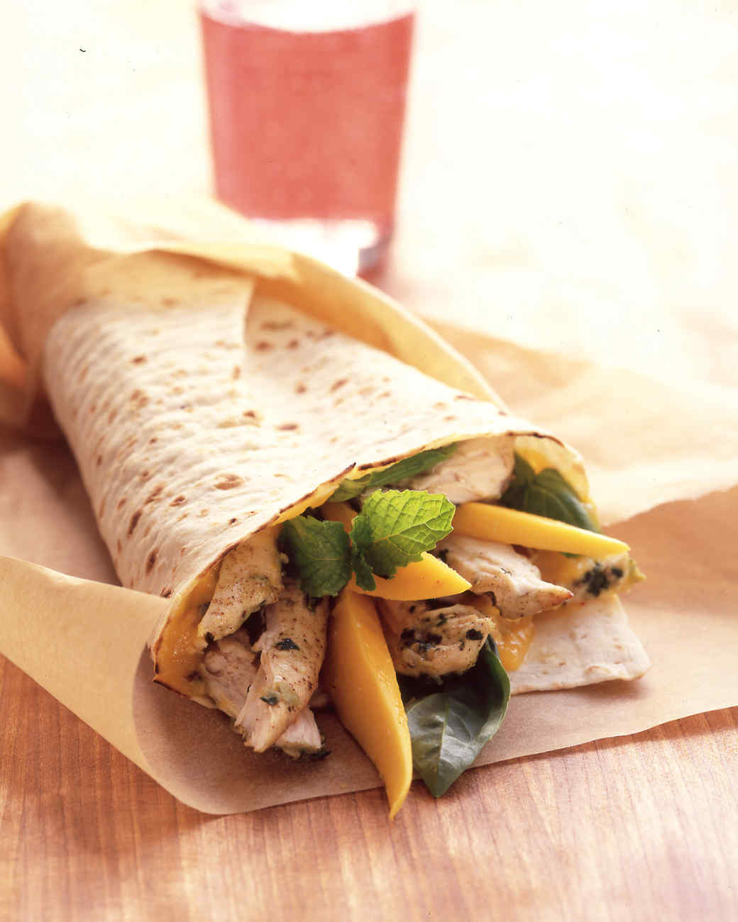 Chicken Wraps with Mango, Basil, and Mint
