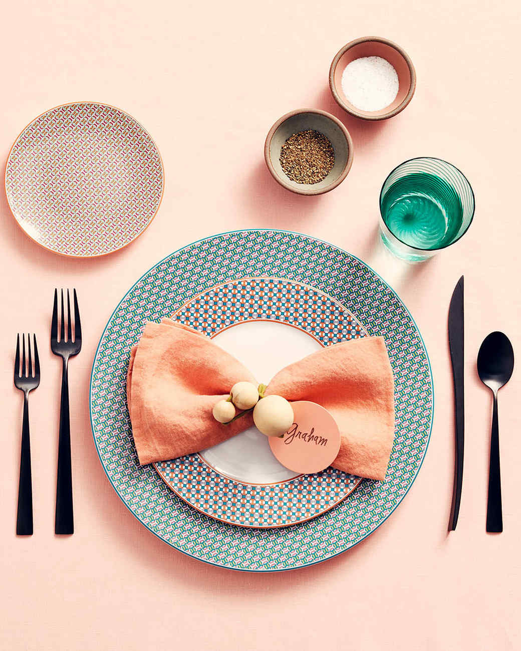 wooden beaded napkin ring on place setting