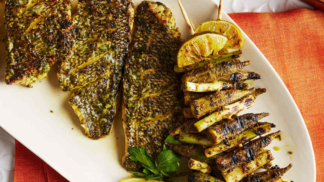 grilled fish bass okra