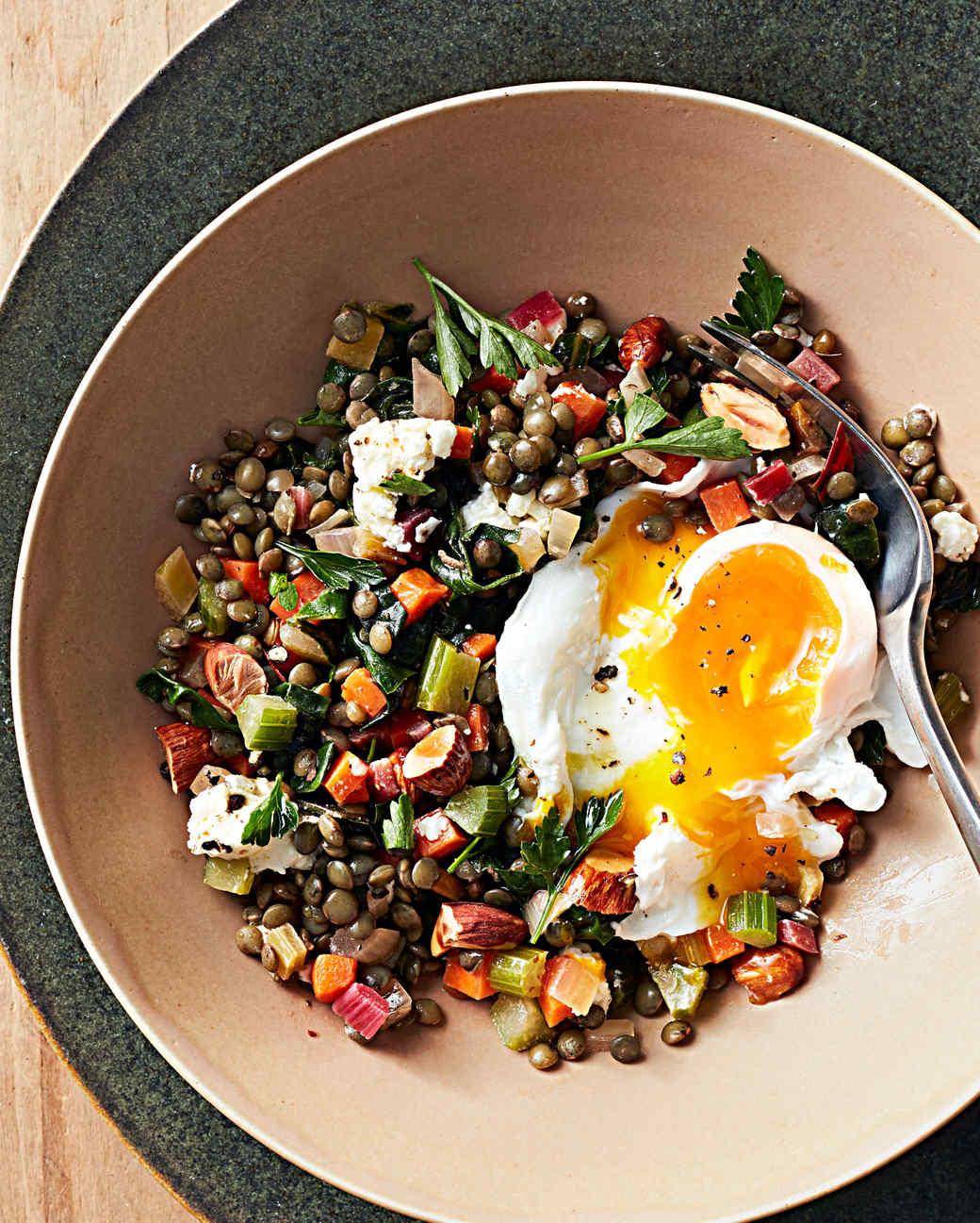 humble beginnings warm lentil salad eggs