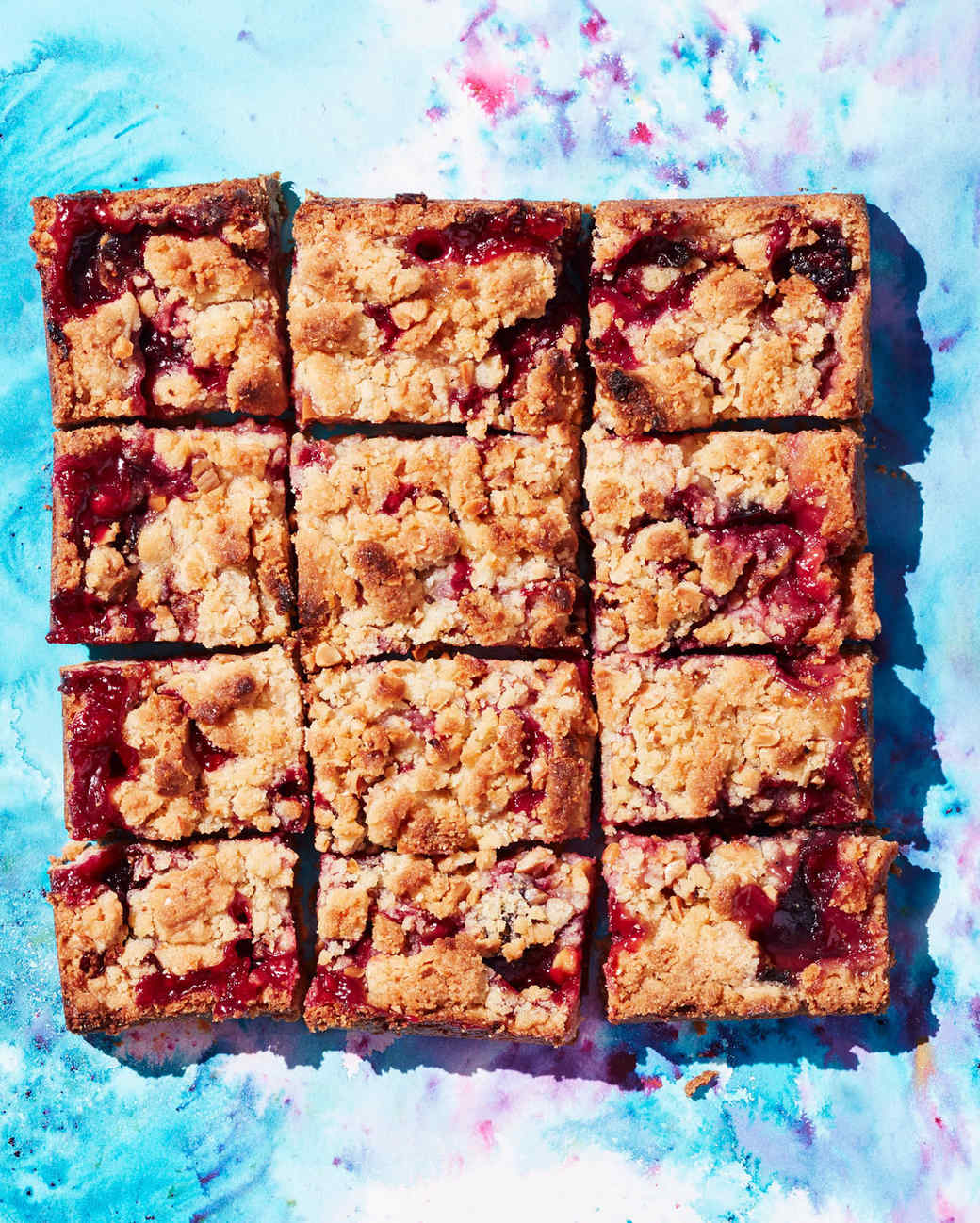 plum and blackberry cornmeal almond crumb bars